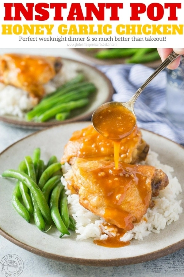 Instant Pot Honey Garlic Chicken. Tender delicious chicken thighs with a rich tasty honey garlic sauce you'll love! Easy Pressure Cooker Chicken Recipe. | www.glutenfreepressurecooker.com | #honeygarlicchicken #instantpothoneygarlicchicken #instantpotchicken #pressurecookerchicken #instantpot #instapot #electricpressurecooker #glutenfreepressurecooker #glutenfreeinstantpot #glutenfree