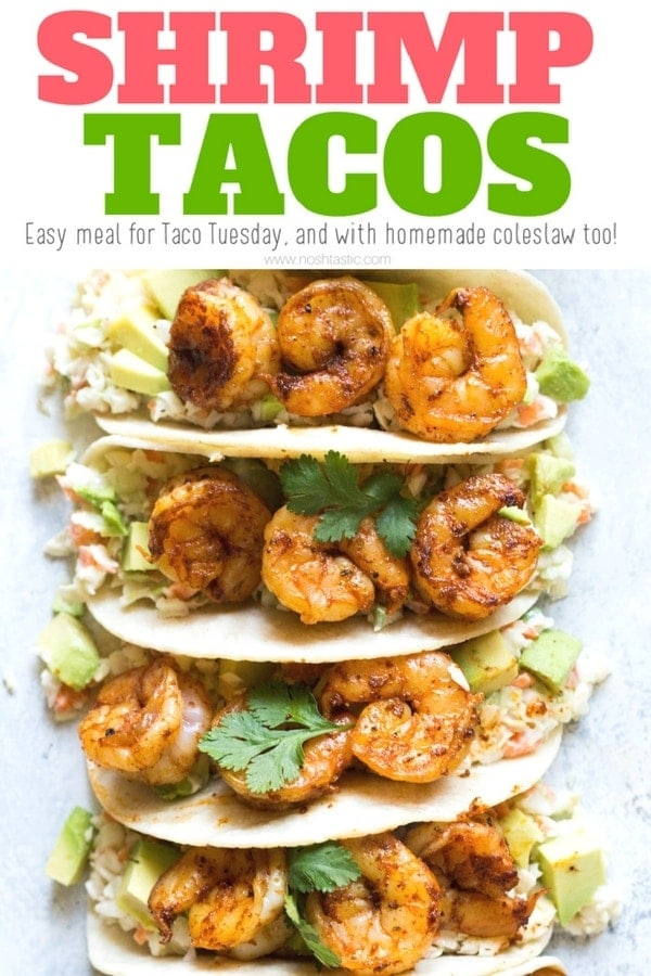 Shrimp Tacos for the whole family! made with homemade cabbage slaw and served with blackened shrimp and avocado. Perfect for Taco Tuesday! | www.noshtastic.com | #shrimptacos #blackenedshrimp #fishtacos #glutenfreetacos #healthytacos #tacotuesday #glutenfree #noshtastic #glutenfreerecipe