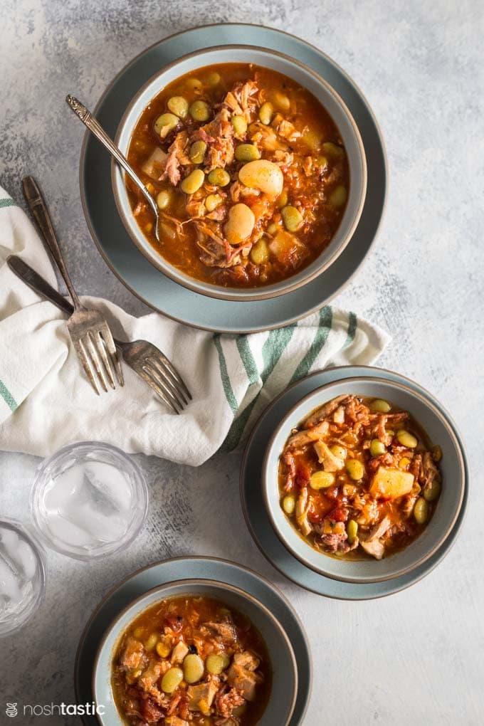 Instant Pot Brunswick Stew in bowls