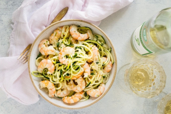 Shrimp Scampi in a bowl with noodles