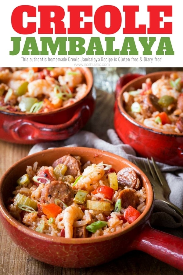 authentic homemade Creole Jambalaya Recipe, it's flavor packed with bell peppers, celery, onions, spices, chicken and shrimp, you'll love it! This recipe is healthy, made from scratch, gluten free and dairy free too. #jambalaya #creole #cajun #glutenfree #noshtastic