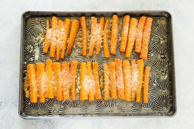 Oven roasted parmesan carrots