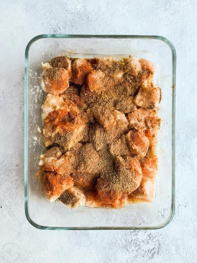 chicken tikka masala spices on chicken