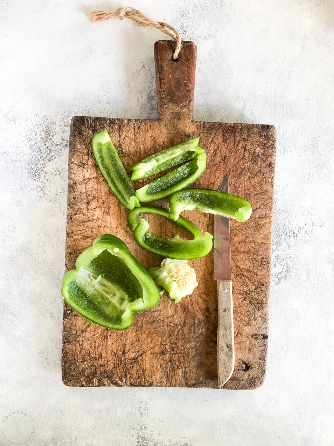 bell peppers on a chopping board