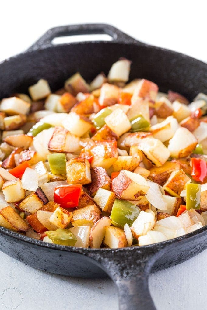 Potatoes O Brien Recipe, skillet potatoes with bell peppers and onions