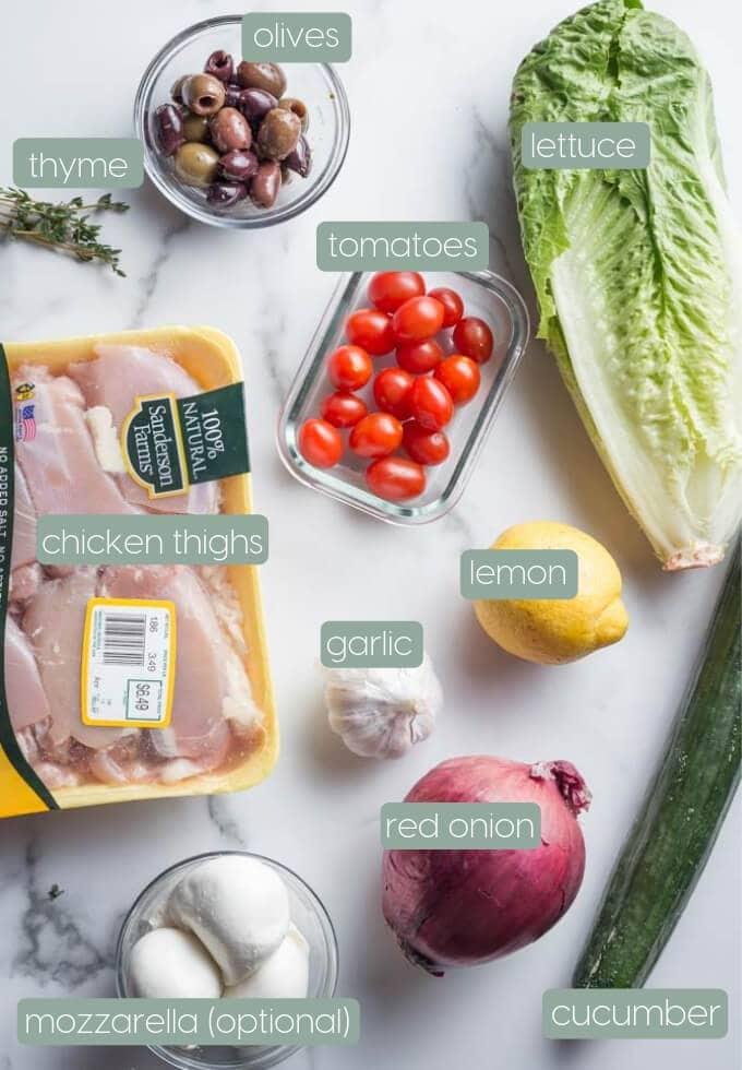 Ingredients for mediterranean chicken salad