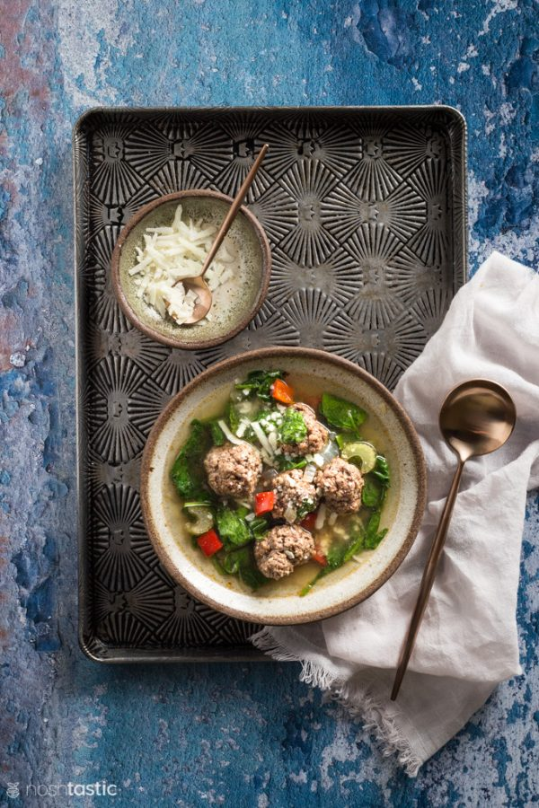 Italian Wedding soup with cheese