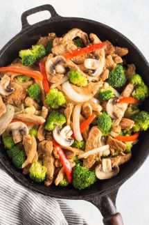 Easy Low Carb Chicken Stir Fry Recipe, quick, delicious, you'll LOVE this Keto Chicken Stir Fry recipe and so will your kids! Made with Chicken, low carb stir fry sauce, broccoli, red bell peppers, mushrooms, and onions. This recipe is gluten free, paleo, whole30, low carb, and keto friendly. #lowcarb #keto #paleo #w30 #easy #quick #chicken #stirfry #easydinner #chickendinner #lowcarbstirfry #chickenstirfry #ketostirfry #ketodiet #ketogenicdiet #noshtastic #glutenfree