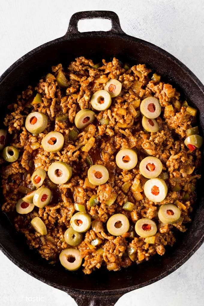 close up of picadillo