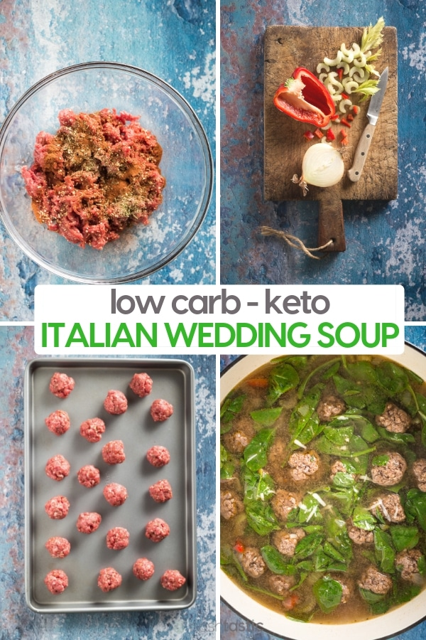 Step by step photo for making low carb Italian Wedding Soup Recipe