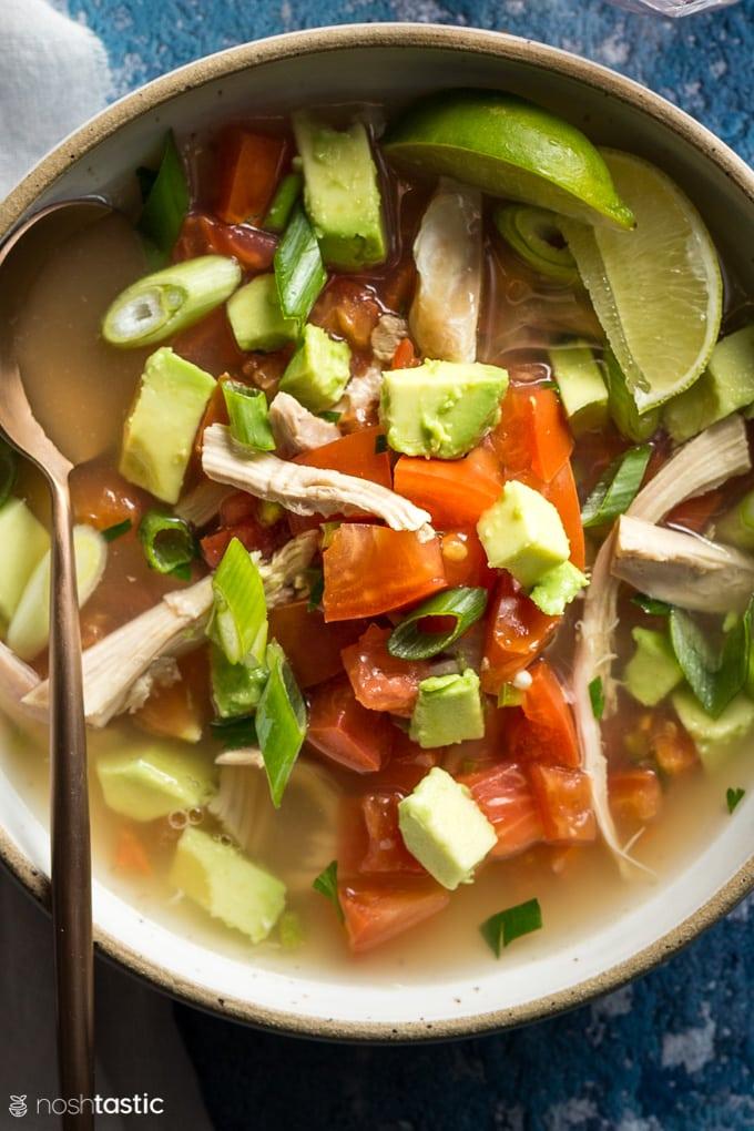 Chicken Avocado soup in a bowl