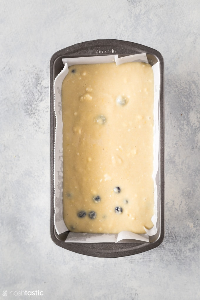 Ingredients for low carb blueberry cake in a loaf pan