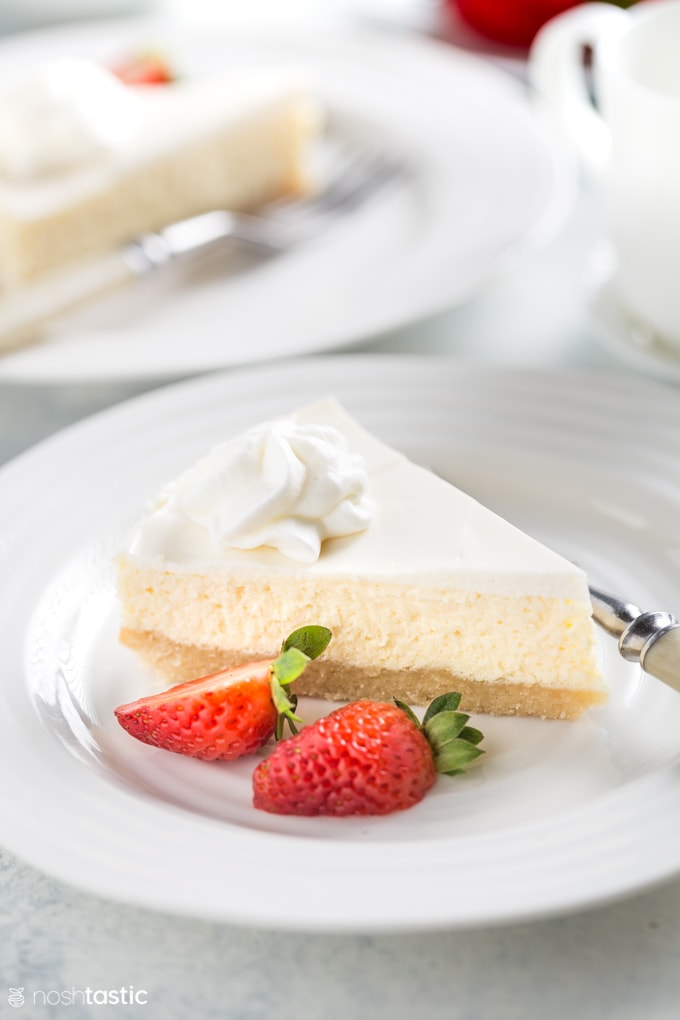 Slice of Low Carb Cheesecake on a plate