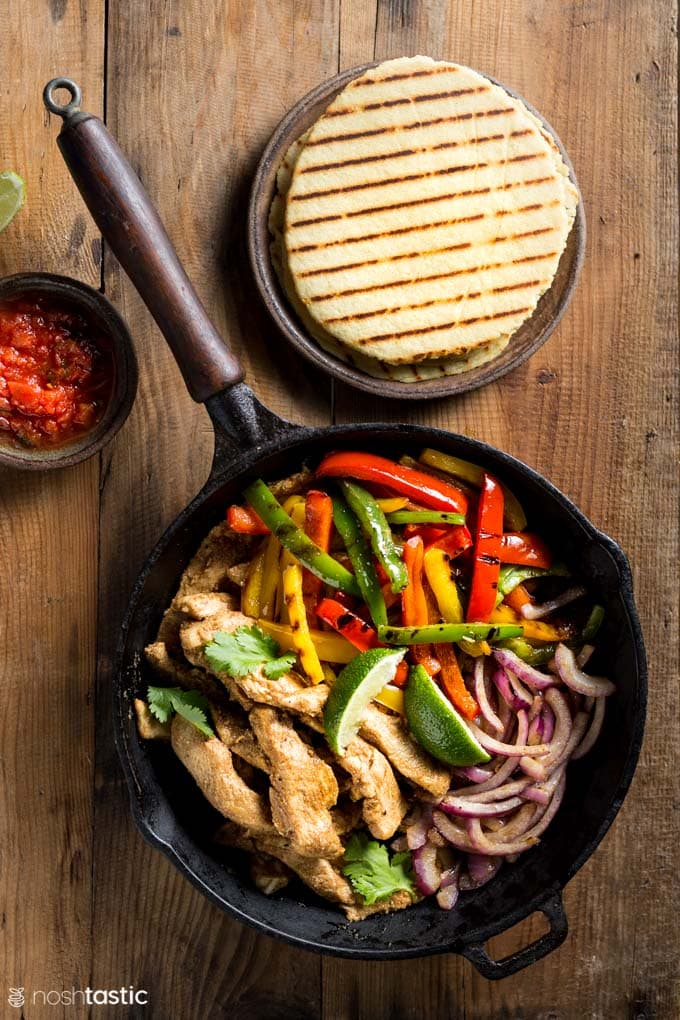 Low Carb Chicken Fajitas with homemade Keto Tortillas