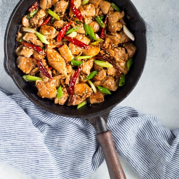 Low Carb General Tsos Chicken recipe in a skillet