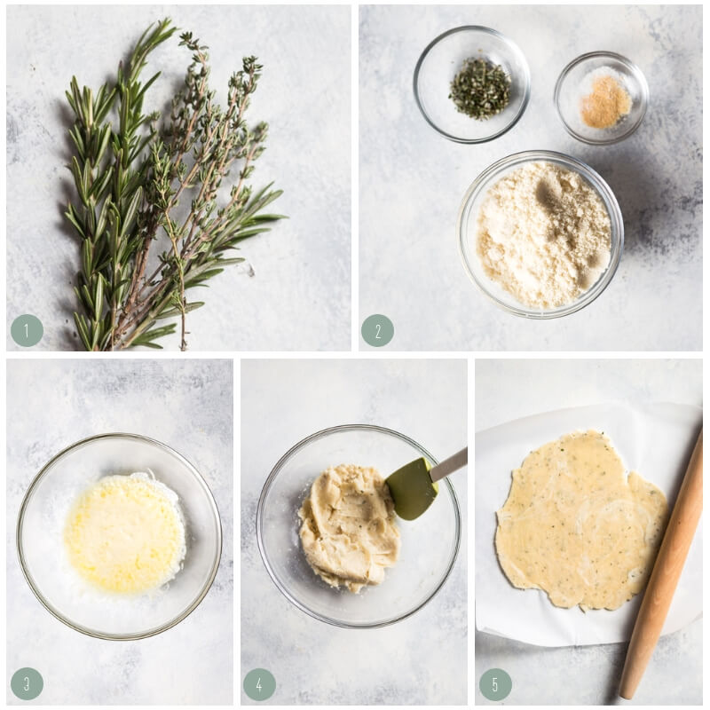 Step by step photo collage showing how to make keto herb crackers