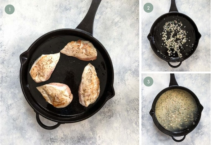 Step by step guide showing how to make Lemon Rosemary Chicken in a skillet
