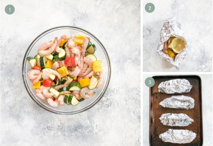 step by step guide to making shrimp foil packets