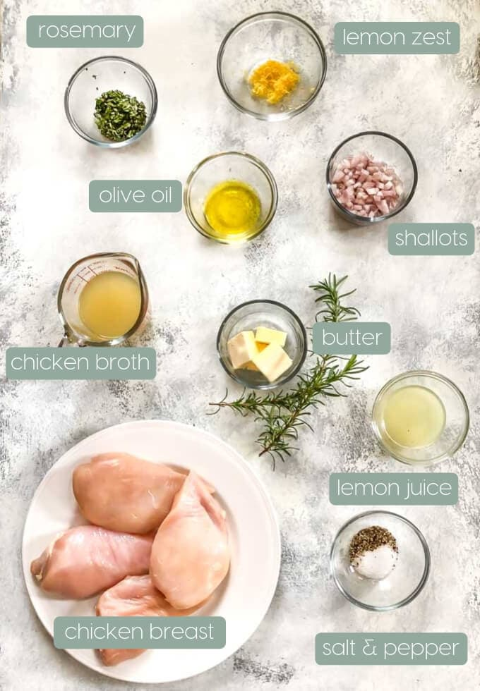 Ingredients on a board for making Lemon Rosemary Chicken