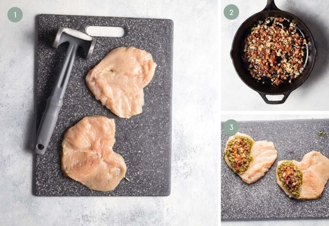 Step by step photograph showing how to make pesto stuffed chicken