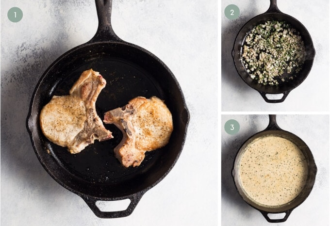 Photo collage showing how to make keto pork chops