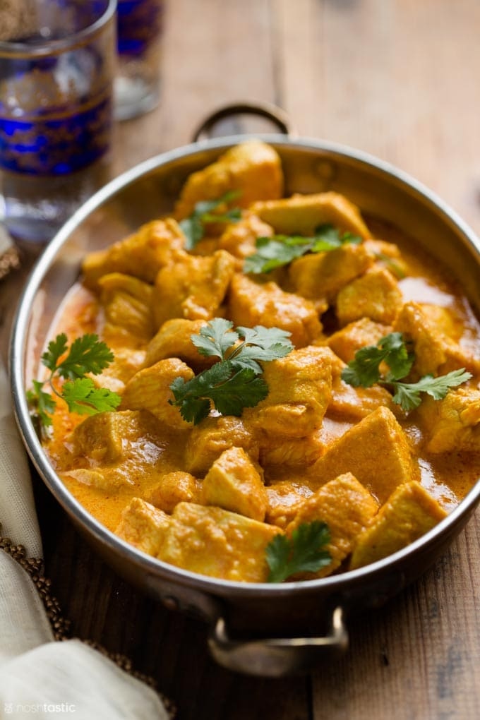 Butter chicken in a large dish
