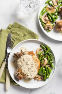 Keto Pork Chops on a plate with asparagus