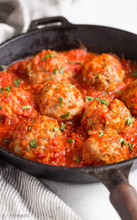 mozarella stuffed meatballs with parsley on top