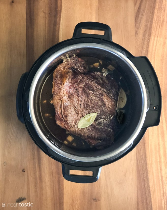 Pot roast in a pressure cooker