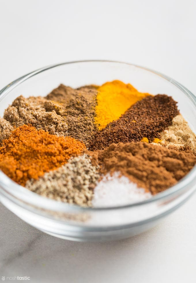 Ras El Hanout spices in a small bowl