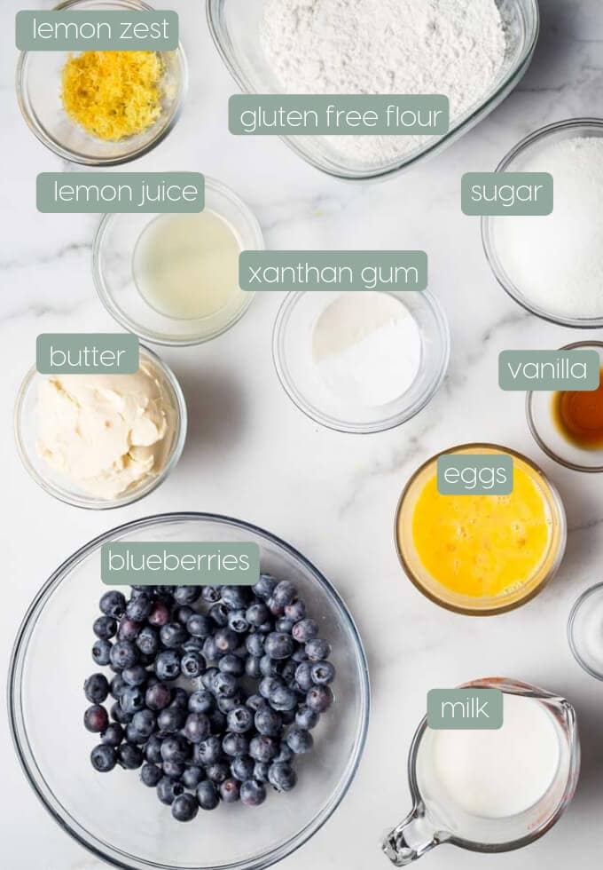 ingredients measured out for gluten free blueberry cake