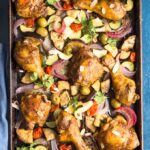 Moroccan Chicken on a sheet pan with vegetables