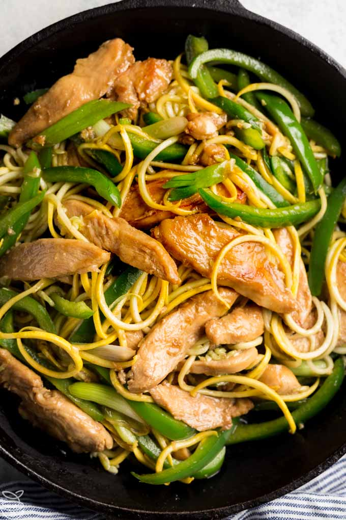 Keto Chicken Lo Mein Recipe, a healthy chicken take out recipe you can easily make at home, perfect for your low carb diet and gluten free too. www.noshtastic.com #lowcarb #chicken #zoodles #keto