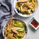 Two Bowls of Low Carb Lo Mein with chopsticks