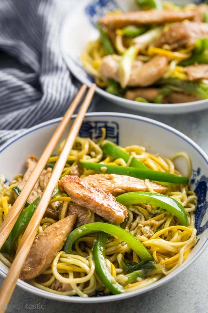 Low Carb Chicken Lo Mein Recipe in bowls with chopsticks