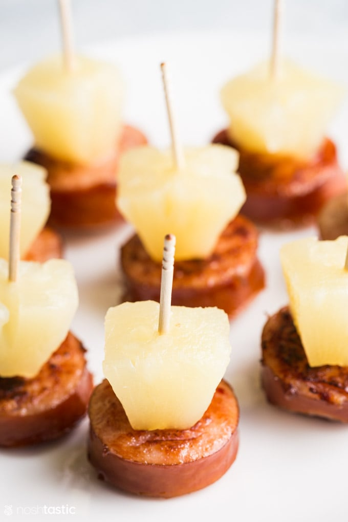 Sausage and pineapple bites on a toothpick