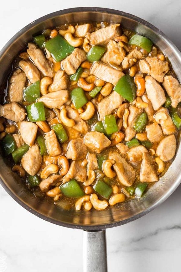 overhead photograph of keto cashew chicken in a skillet