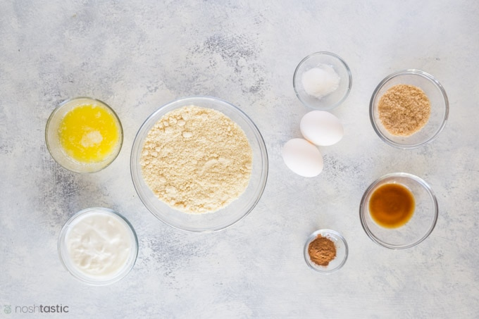 Ingredients measured out for keto low carb muffins