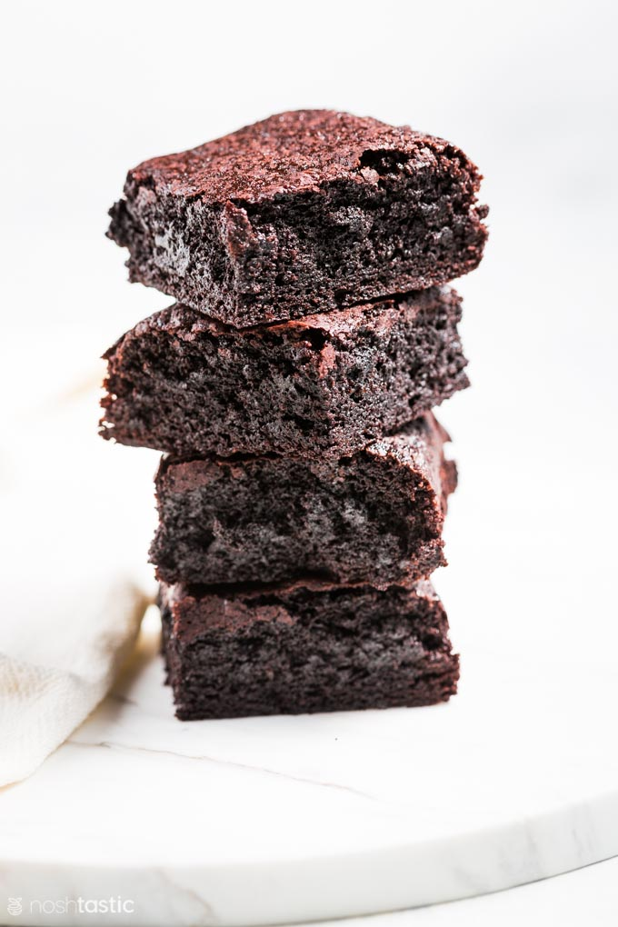 gluten free brownies cut and stacked up