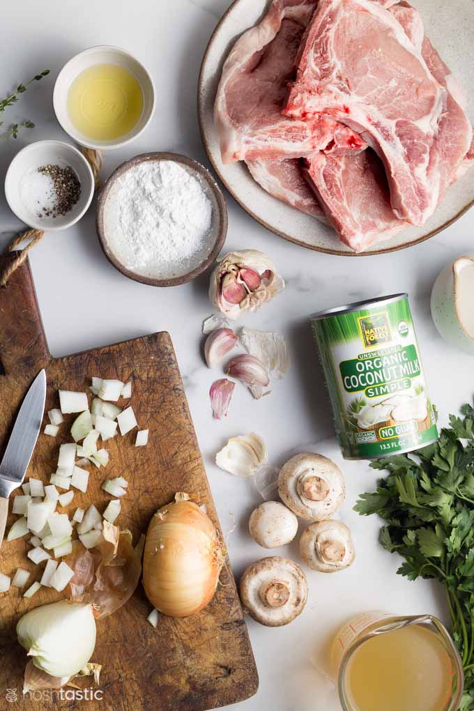 ingredients on a table for making Instant Pot Pork Chops