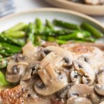 pork chops with mushrooms in a sauce