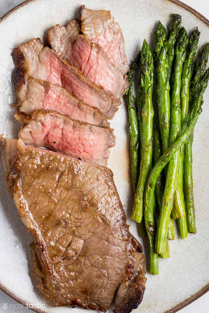 Air Fryer Strip Steak with asparagus
