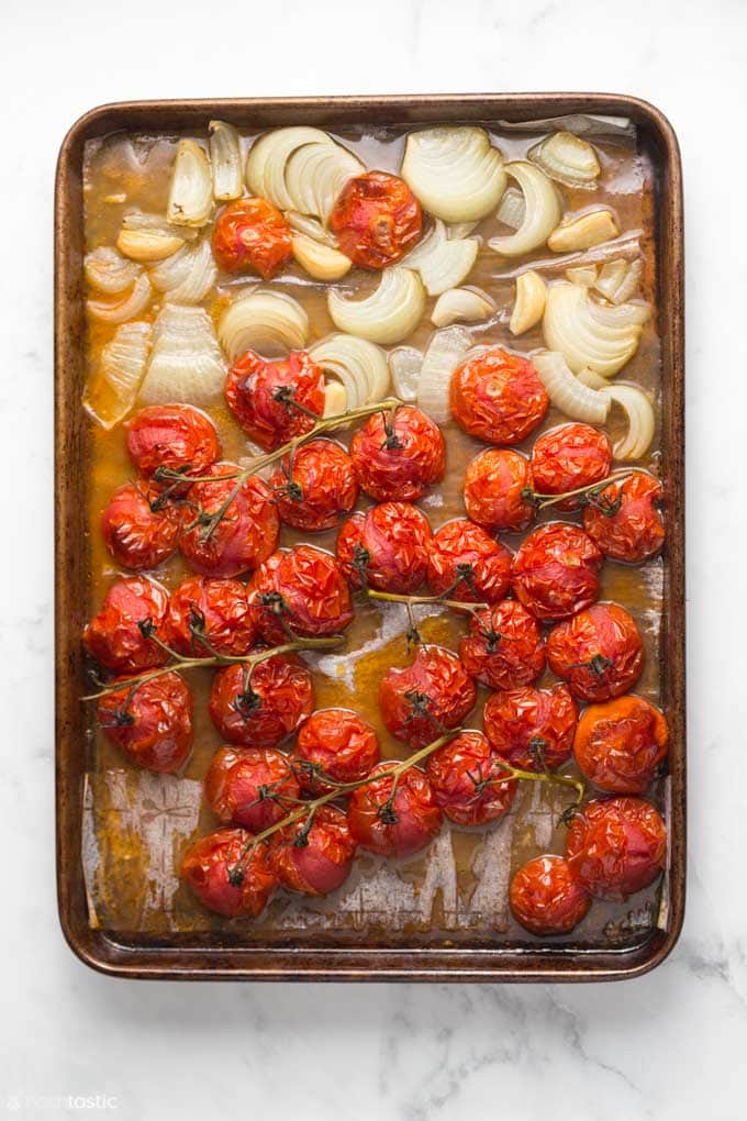 roasted vegetables on a sheet pan for making instant pot tomato basil soup