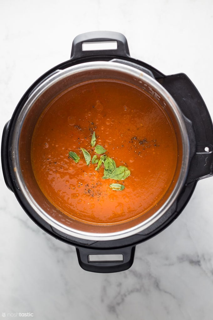 cooked tomato basil soup