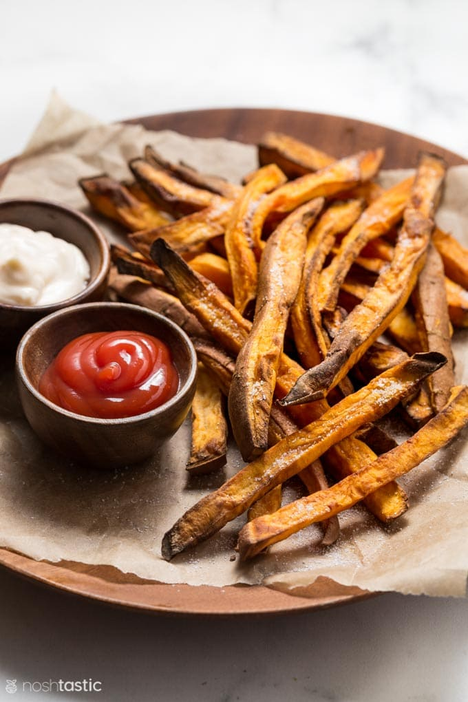 Air Fryer Sweet Potato Fries with ketchup and mayo