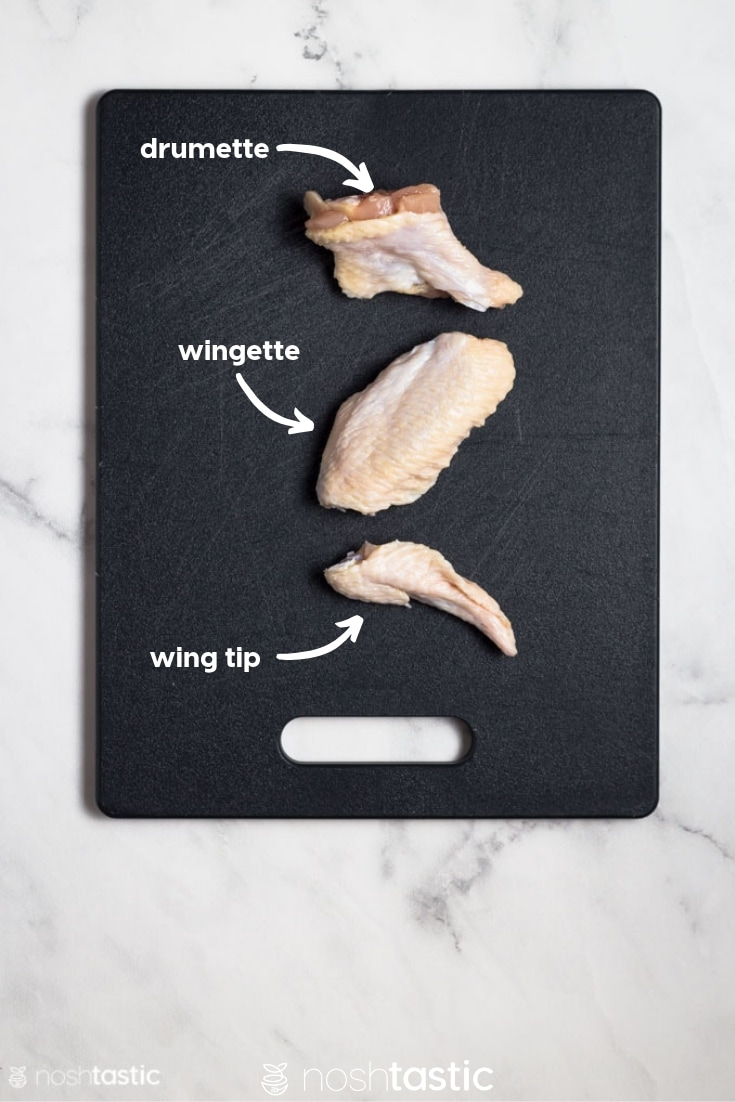 Cut pieces of a chicken wing on a cutting board