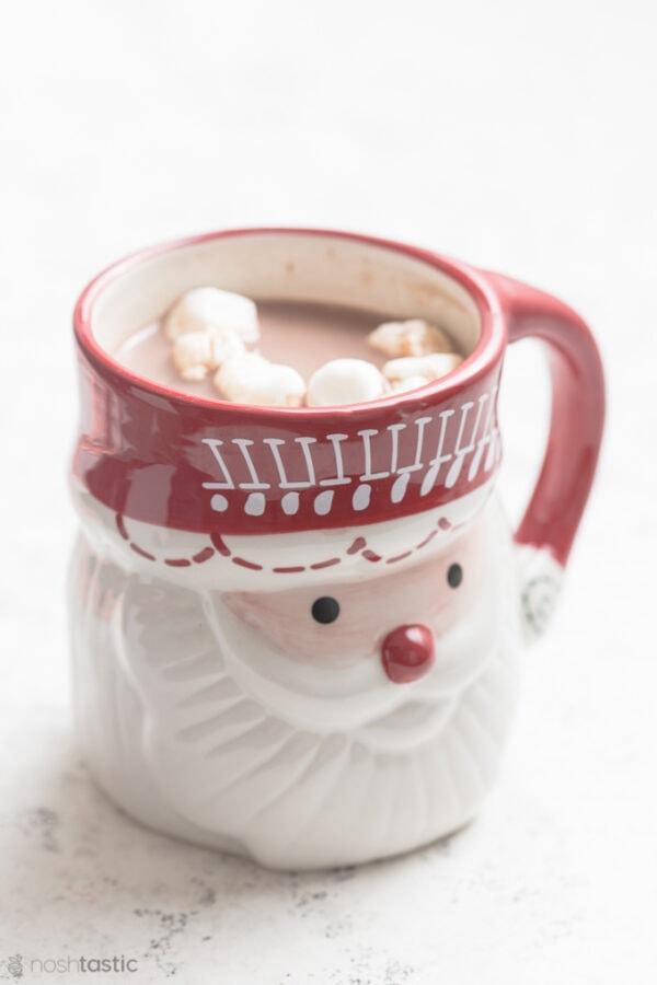 Hot Chocolate with marshmallows in a Santa Mug