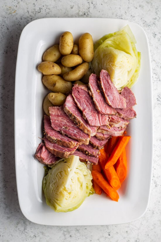 corned beef and vegetables on a platter