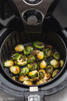Brussels Sprouts in air fryer basket