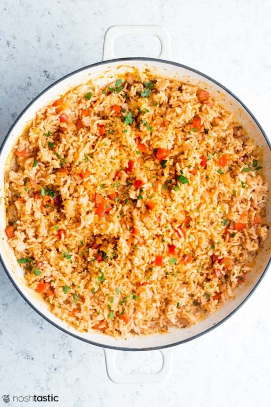 cooked spanish rice in a pan